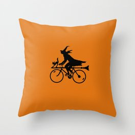 Witch on a Bicycle Throw Pillow