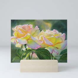 Two Peace Rose Blossoms with Dark Background Mini Art Print