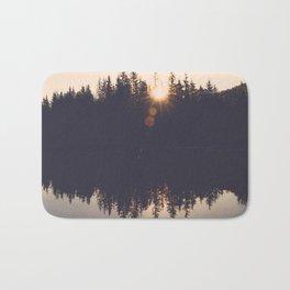 Wooded Lake Reflection  - Nature Photography Bath Mat