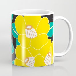 Japanese Style Camellia - Yellow and Black Coffee Mug