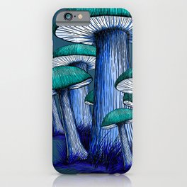 Magically Blue Mushrooms iPhone Case