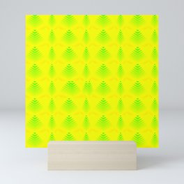 Mother of pearl pattern of melon hearts and stripes on a yellow background. Mini Art Print