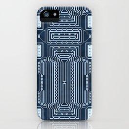 Blue Geek Motherboard Circuit Pattern iPhone Case