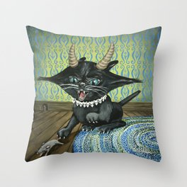 Evil Kitty Throw Pillow