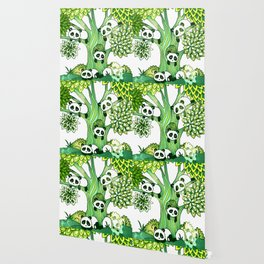 Green Panda Tree Wallpaper