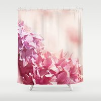 bible Shower Curtains featuring Dreamy pink hydrangea by UtArt