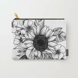 Bouquet of Flowers with Sunflower / Fall floral lineart Carry-All Pouch