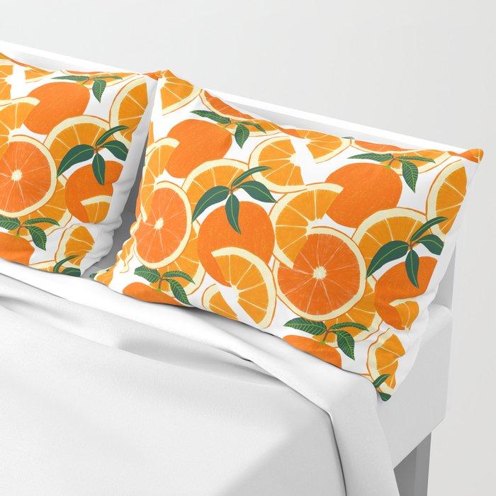 Orange Harvest - White Pillow Sham