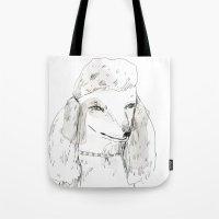 poodle Tote Bags featuring Poodle by ELIZABETH GRAEBER