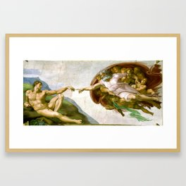 The Creation of Adam Painting by Michelangelo Sistine Chapel Framed Art Print