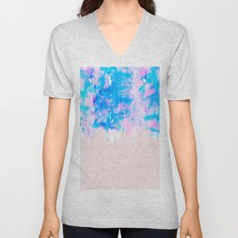 Girly Pastel Pink and Blue Watercolor Paint Drips Unisex V-Neck
