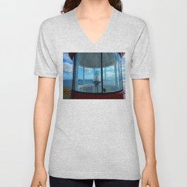 Lighthouse and Sea Beyond, seen from the Balcony Unisex V-Neck