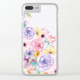 Modern pink lavender watercolor floral polka dots Clear iPhone Case