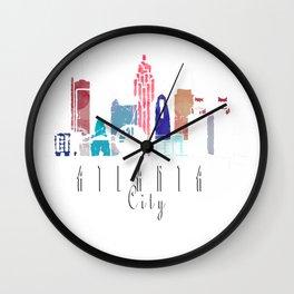 Atlanta GA USA Watercolor Pink Wall Clock