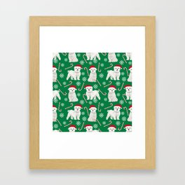 Maltese christmas festive dog breed holiday candy canes snowflakes pattern pet friendly dog art Framed Art Print