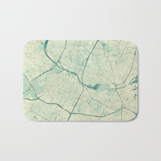 Austin Map Blue Vintage Bath Mat