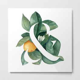 Orange Leaf Ampersand Metal Print