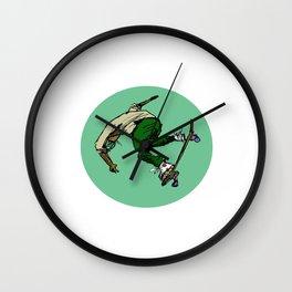 Lean Green Skateboarding Machine Wall Clock