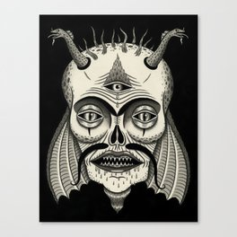Three-Eyed Skull with Unibrow Canvas Print
