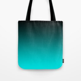 Black Aqua Neon Nights Ombre Tote Bag