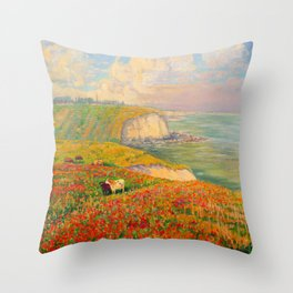 Václav Radimský (1867-1946) Normandy coast in bloom Impressionist Landscape Painting Bright Colors Throw Pillow