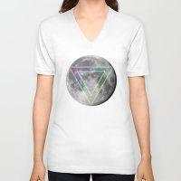 lunar V-neck T-shirts featuring Lunar Eclipse by Karolis Butenas