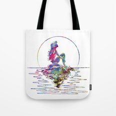 The Little Mermaid Ariel Silhouette Watercolor Tote Bag