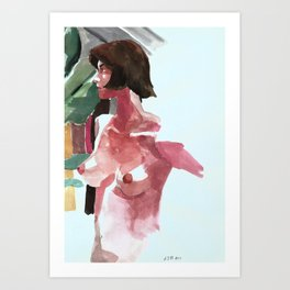 nude woman with plants Art Print