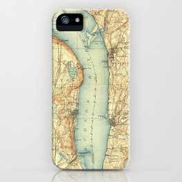 Vintage Map of Tarrytown NY & The Hudson River iPhone Case