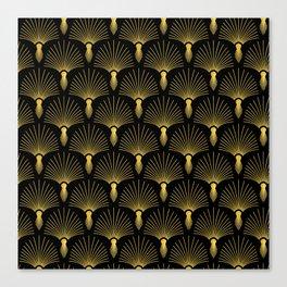 Vintage Hollywood Elegant Gold and Black Art Deco Canvas Print