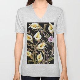 Arum Lily Artistic Floral Design Unisex V-Neck