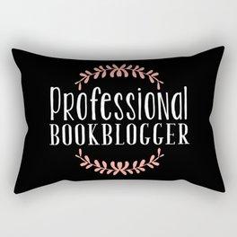 Professional Bookblogger - Black w Pink Rectangular Pillow