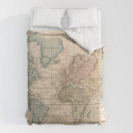 Vintage Map of The World (1823) V.2 Comforters