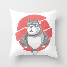 Cute English Grey Bulldog Artwork Throw Pillow