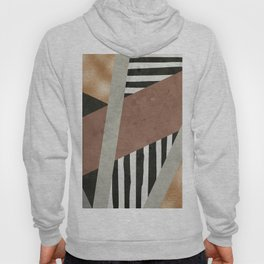 Abstract Geometric Composition in Copper, Brown, Black Hoody