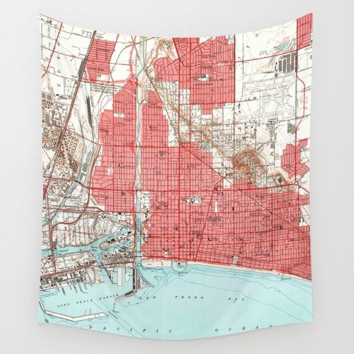 Vintage Map of Long Beach California (1949) 3 Wandbehang