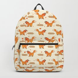 Red Fox & Hearts Pattern Backpack