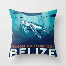 Belize Travel poster vintage tropical reef Throw Pillow