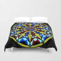 sacred geometry Duvet Covers featuring Zodiac Sacred Geometry by Aurum Lux