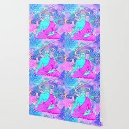 Sitting Buddha among psychedelic Mushrooms Wallpaper