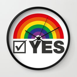 Vote Yes! - Rainbow Tick Wall Clock