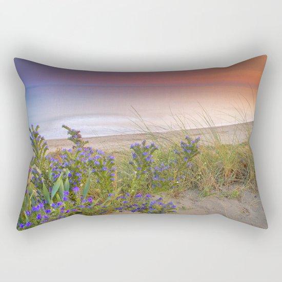 """Purple flowers at the sea sunset"" Rectangular Pillow"