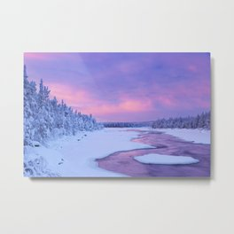 Sunrise over river rapids in a winter landscape, Finnish Lapland Metal Print