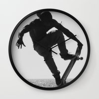 skateboard Wall Clocks featuring Skateboard Freedom by Scotty Photography