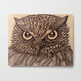 Fierce Brown Owl Metal Print