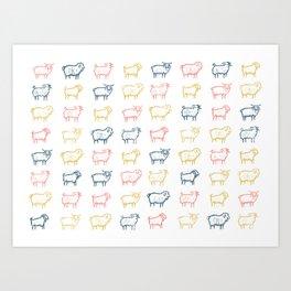 Tricolor Goats Art Print