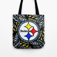 steelers Tote Bags featuring New Tribal Steelers by Lonica Photography & Poly Designs