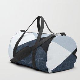Geometrics II - blue marble & silver Duffle Bag