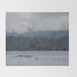 Lone Surfer - Hanalei Bay - Kauai, Hawaii Throw Blanket