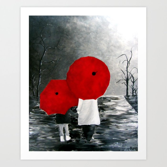 Black White Red Mother And Child With Umbrella Print Of Painting